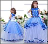 Cheap blu Appliques spettacolo abito gioiello collo senza maniche su misura formale Brithday Dress Figura intera Flower Girl Dresses Tiered Gonne