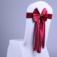 Wholesale White Chair Design - 5 Pcs lot Fashion Design Chair Sashes Bow Chair Cover Sashes For Events Wedding Banquet Party Decor Hotel Chair Sash 9 colors