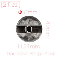 Wholesale Gas Stove Switch - Wholesale-2 Pcs lot 8mm Hole Inner Diameter Kitchen Ware Metal Gas Stove Oven Cooker Range Knob Switch Silver Tone