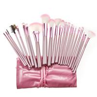 Wholesale 22pcs Makeup Brushes - 22pcs Professional Cosmetic Makeup Brush Set Travel Makeup Kits with Bag Pink DHL Free Shiping