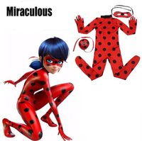 Wholesale cosplay skin - Newest Ladybug Girl Costume Miraculous Kids Marinette Cartoon Cosplay Costume Second Skin Halloween Party costumes Suit