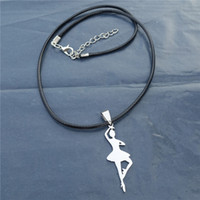 Wholesale Girl Dancer Jewelry - 12pcs lot New Hot Sale Fashion Women Stainless Steel Ballet Dancer Pendant Necklace Jewelry For Girls