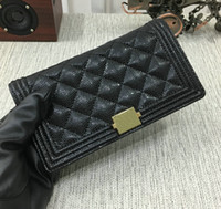 Wholesale Note Two - 2018 Women's Black Lambskin Boy Long Wallets Card Holder Men's Genuine Caviar Leather Purse Two Folder Clutch Wallet Gold Hardware