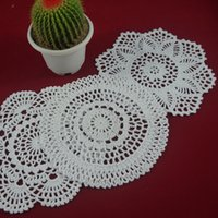 Wholesale Round Handmade Tablecloth - Wholesale- Vintage Handmade Crocheted Doilies Placemats Flower cotton cup porcelain vase pad pad tablecloth 30PCS LOT Physical picture 100%