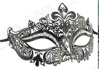 Wholesale Couples Masquerade Masks - New Luxury Rhinestones Phantom Couple Masquerade Mask Birthday Party Costume Ball Metal Venetian Men Women Mask
