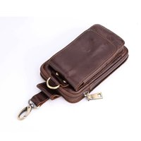 Wholesale Designer Mobile Phone Cases - 5.5inch Men Genuine Leather Waist Belt Double Zipper Wallet Cell Mobile Phone Pocket Cigarette Key Case Designer Coin Purse Bag