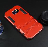 étui de téléphone armure de fer homme galaxie achat en gros de-Cas de haute qualité de cas de téléphone portable Iron Man Armor Case avec support pour Samsung Galaxy S6 / S6 bord Couverture de téléphone portable