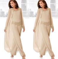 Wholesale fashion mother groom dresses resale online - 2020 Vintage Plus Size Pants Suits for Mother Bride Long Sleeves Jacket Fashion Mother s Wedding Dresses Cheap Mother of the Groom Dress