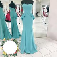 Wholesale Cheap Aqua Prom Dresses - 2017 Peplum Evening Dress Long Cheap Elegant Sweetheart Sleeveless Zipper up Mermaid Prom Party Gowns Aqua Blue Dress Sweep Train
