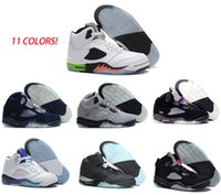 Wholesale Pink Rose Boots - 2016 Air retro 5 man basketball shoes OG Black Metallic Green Bean Grape Pro stars Space Jam Oreo Fire Red LS Athletics boots