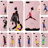Wholesale Painted Basket - Basket ball players TPU painting cell phone Case For Apple iPhone 5S 6S 7 Plus case ultra thin soft PC back silicone phone cover shell