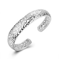 Wholesale Sterling Silver Ladies Bangles - Hollow Carved Plated Slided Bracelet 925 Sterling Silver Open Bangle Bracelet Classic Flower Pattern Cuff Women's Bangle Bracelet Lady Gifts