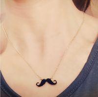 cadenas de bigotes al por mayor-Collar de barba lindo bigote suéter de cadena larga chapado en oro collar colgantes joyería de moda para mujeres