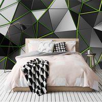 fonds d'écran uniques achat en gros de-3D papier peint créatif géométrie ligne verte peinture murale papier peint 3D design unique photo papier peint peinture grand mur art plafond chambre décor