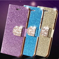 Wholesale Iphone4s Cover Wallet - Luxury Glitter Bling Crystal Diamond iphone 6 6S case flip wallet leather stand cover for iphone4S iphone5S 6S i6 plus S6 S6 edge NOTE4 3