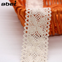 Wholesale Wholesale Fabric Sewing Material - 4cm 20yards lot Cotton Lace Trims Sewing Beige Ribbon for Home Curtain DIY Handmade Patchwork Cotton Fabric Material Accessories