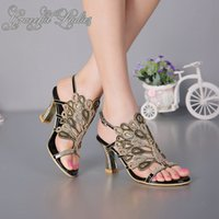 Wholesale Photos Kittens - Rhinestones Peacock Women Sandal Square High Heels With Crystals Ankle Strap Real Photo Wedding Shoes Luxury Crystals Open Toe Ladies Sandal