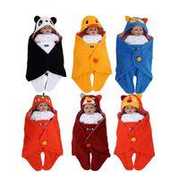 Wholesale Girls Strawberry Bedding - newborn swaddle wrap blanket sleeping bag fleece cartoon animal owl panda bear tiger lion strawberry boys girls sleep sack baby bedding 0-6M