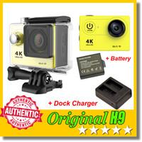 Wholesale yellow dock online - Original EKEN H9 Ultra HD K Action Camera Extra Battery Dock Charger P fps Degree Waterproof Sports DV