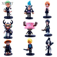 Wholesale one piece anime set - Toys Anime Cartoon One Piece PVC Figure Toys Luffy 2 Years Later Model Doll Q style 64th 9pcs set Free Shipping