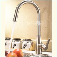 Wholesale pull out spray kitchen faucet single holder single hole brushed kitchen faucet Hot and cold mixer tap J14818