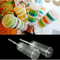 Wholesale Wholesale Plastic Push Pops - 10 PCS Plastic Material Transparent Cake Pushing Cylinder Desserts Push Up Pop Containers Twist Cake Mold Cup Push