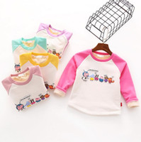 Wholesale Soft Girl Prints T Shirt - Cartoon animal Printed girls T-shirt Soft thickening sweater Round neck cute boys pullovers long sleeve tops for kids children clothing