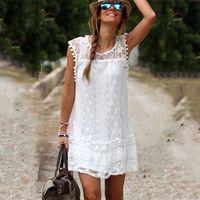 Wholesale Pencil Dresses For Sale - Hot Sale White Black Mini Lace Dress For Women Crew Neck Sleeveless Summer Casual Dress Beach Bikini Cover-Ups Sundress Plus Size DZF0310