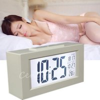 Wholesale Novelty Thermometers - White Novelty Lage LCD Screen Calendar Display Multi-Function Desktop Snooze Alarm Clock Date Thermometer LED Backlight Light