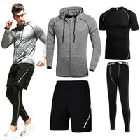 Wholesale Long Underwear Mens - Mens Tracksuits Sport Set With 4 Pcs Coat With Short And Underwear Sets For Traning And Running Man Gym Suits Quick Dry 16 Colors Available