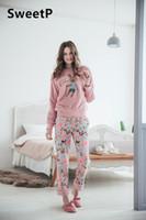 Wholesale Princess Pajamas Ladies - 2017 lady winter Lovely coral velvet thickening Sweet princess pajamas Suit Leisure wear size M L XL round collar Jacket trousers