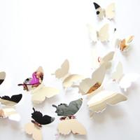 мелкая черная бумага оптовых-12 шт./лот новые прибытия зеркало Щепка 3D бабочка стены наклейки партии Свадебный декор DIY украшения дома для детей номера клей