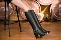 Wholesale Ladies Long Heel Shoes Fashion - Women Black Knee High Boots Genuine Leather Long Boots Autumn Winter Ladies Fashion Chunky Heel Work Boots Snow Shoes Motorcycle boots