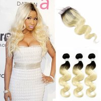 Wholesale Body T - Colored Brazilian Hair Body Wave T 1B 613 Blonde Extensions 3 Bundles with Lace Closure Free Middle Part Ombre Human Hair Weave