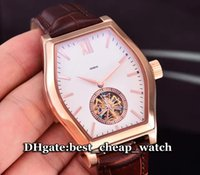 Wholesale Cheap Tourbillon Watch - Super Clone Brand Luxury Watch Malte Tourbillon 30130 000R-9754 Mens Watch White Dial 18K Rose Gold Automatic Leather Strap Cheap Watches
