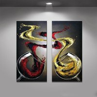 Wholesale Modern Wine Abstract Art Canvas - Handmade 2 Pcs Modern Abstract Oil Painting On Canvas Wall Art wine and Wineglass Decorative Pictures Wall Pictures For Living Room(No Frame