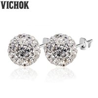 Wholesale Candy Silver Balls - 925 Sterling Silver Earrings Candy Ball Crystal Clip On Stud Earrings Women Sterling Engagement Earrings Fashion Jewelry Multicolor VICHOK
