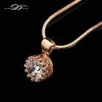 Wholesale Crown Gold Jewellery - Vintage Crown CZ Diamond Necklaces & Pendants Gold Plated Fashion Brand Jewelry Jewellery For Women Chains Accessiories DFN390
