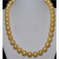 """yellow sea pearl Australia - AAA SOUTH SEA 10-11 mm GOLDEN YELLOW PEARL NECKLACE 18"""" SPHERICAL BUCKLE"""