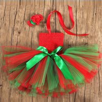 Wholesale Theme Clothing Dresses - 2 Styles S-XL Girl Sets Lady TUTU Skirt+Headband Theme Costume Children Stage Performance Clothing Dress Red Fashion Outfits