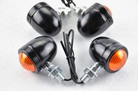 Wholesale Yamaha Bobber - Free Shipping 4x silver black Motorcycle Turn Signal Light For Chopper Bobber Cafe racer