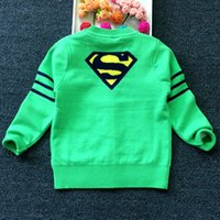 Wholesale Childrens Sweater Jackets - 2016 New Autumn Children Cartoon Superman Cardigan Boys Girls Knitted Double Jacket Long Sleeve Sweater Childrens Cardigan Outwear 4 Colors