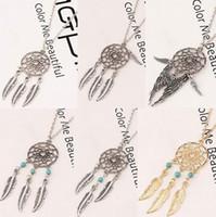 Wholesale Wholesale Feather Wings - Dream Catcher Statement Necklaces Dreamcatcher Antique Silver Turquoise Wings Feather Long Pendant Necklaces For Women 6 Styles