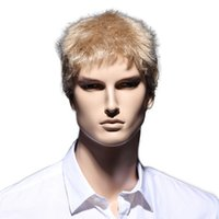 Wholesale Blonde Men Wigs - 6inch Straight Blonde Short Wig Natural Hair Men Heat Resistant Synthetic Hairstyles
