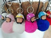 Wholesale Hair Handbag - Fashion Cute Doll Rabbit Fur Cony Hair Rhinestone Ball Charm Car Keychain Handbag Key Ring Pendant