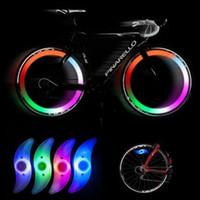 bisiklet için yol açtı lastik ışık toptan satış-Sıcak satış 4 renk bisiklet bisiklet bisiklet tel lastik lastik jant led parlak ışık lambası