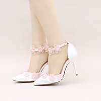 Wholesale White Satin Dance Shoes - White Satin Pointed Toe Weding Shoes with Pink Flower Ankle Strap Bride Dress Shoes Comfortable Party Prom Dancing Pumps