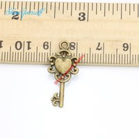 Wholesale Heart Keys Bronze - 20pcs Antique Silver Bronze Plated Heart Flower Key Charms Pendants for Necklace Jewelry Making DIY Handmade Craft 26x12mm