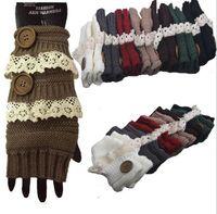 Wholesale Crochet Fingerless Gloves Wholesaler - Stylish Winter Gloves Warm Crochet Fitness Gloves Women Lace Button Wrist Warmer Ladies Soft White Fingerless Gloves Gants Femme TOP2040