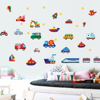 Wholesale Transportation Wall Stickers - Cartoon Transportation Transport Vehicle Car Vinyl Removable Decals for Kids Bedroom Nursery Living Room Mural PVC Wall Stickers